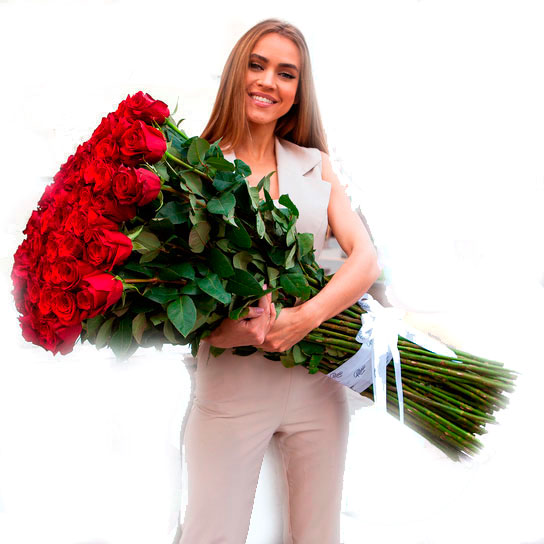 101 красная роза 100 см
