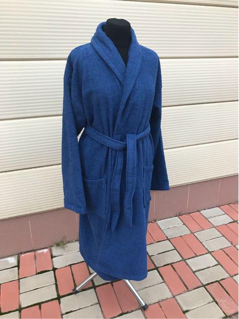 Синий махровый халат (унисекс)