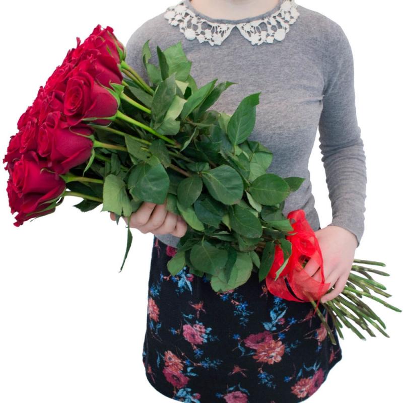 Красная роза 100 см, поштучно