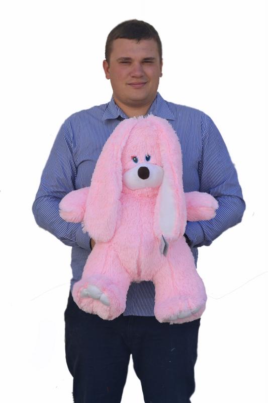 Заяц плюшевый розовый