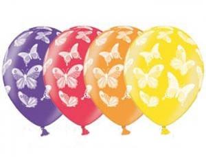 Шары №46 разноцветные с бабочками поштучно
